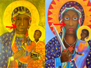 Black Madonna and Ezili Dantor Facial Scratches