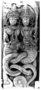 Stone relief of two nagas