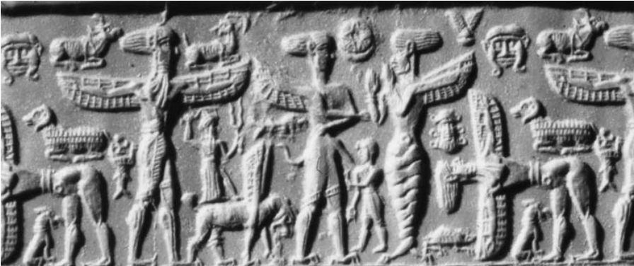 Mesopotamian relief of feathered beings