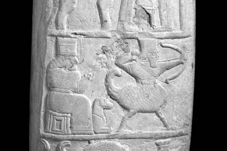 A Mesopotamian relief showing a humanoid creature