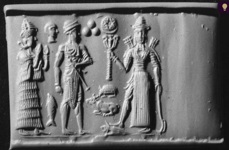 Goddess Ishtar with a six-pointed star