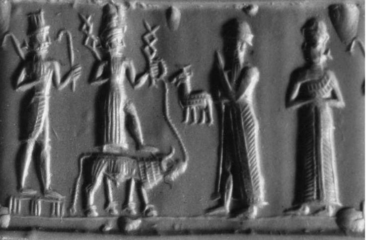 Mesopotamian relief of pagan gods - god Adad standing on an unidentified animal