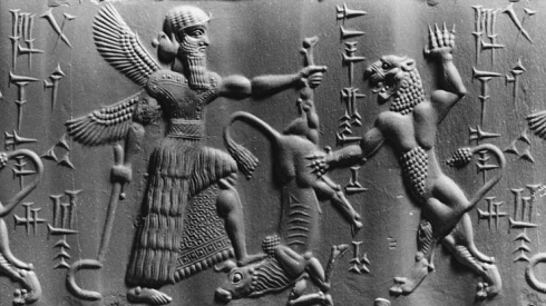 Winged pagan god in Mesopotamian relief