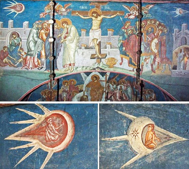 Crucifixion of Christ painting in Visoki Dečani Monastery