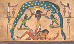 Egyptian flat plane and firmament with stars