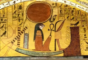Sun god Ra travelling by boat through the underworld